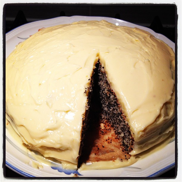 A very rich and creamy icing, for a slightly nutty cake.